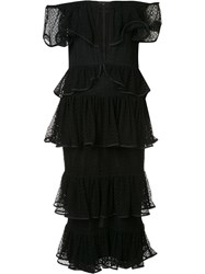 Maki Oh Tiered Lace Off Shoulder Dress Black