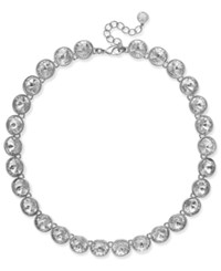 Charter Club Silver Tone Round Crystal Collar Necklace Only At Macy's