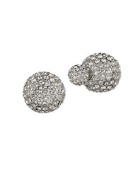 Anne Klein Pave Front Back Stud Earrings Silver