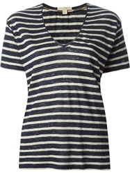 Burberry Brit V Neck Striped T Shirt Blue
