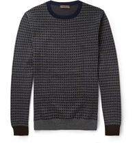 Etro Houndstooth Wool Sweater Gray