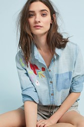 Maeve Boise Embroidered Chambray Buttondown Blue