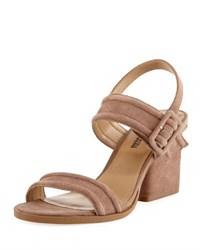 Neiman Marcus Jalissa Suede Strappy Sandal Brown