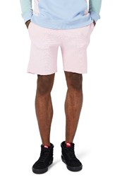 Topman Men's Waffle Jersey Athletic Cutoff Shorts Pink
