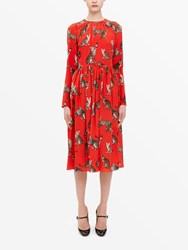 Dolce And Gabbana Cat Print Red Midi Dress