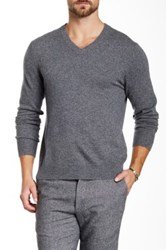 Qi Cashmere V Neck Sweater Gray