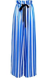 Mother Of Pearl Striped Silk Satin Wide Leg Pants Blue