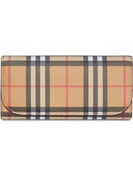 Burberry Vintage Check And Leather Continental Wallet Neutrals