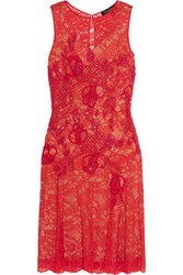 Jenny Packham Sequin And Bead Embellished Lace Dress Red