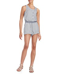 Max Studio Hairline Striped Short Jumpsuit Chambray