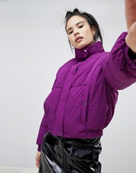 Pull And Bear Pullandbear Crop Puffer Jacket Purple