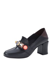 Fendi Rainbow Studded Mid Heel Loafer Pump Black Blk