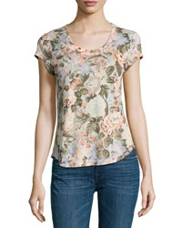 Rebecca Taylor Penelope Floral Print Jersey T Shirt Multicolor
