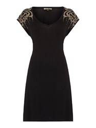 Biba Logo Studded Shoulder Tunic Dress Black