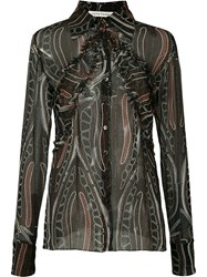 Sophie Theallet Printed Sheer Shirt Black