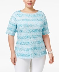 Charter Club Plus Size Pima Cotton Printed Top Only At Macy's Angel Blue Combo