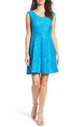 Ellen Tracy Women's Lace Fit And Flare Dress Bright Blue