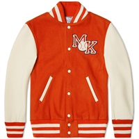 Reebok X Maison Kitsuna Varsity Jacket Bold Orange And Cream White