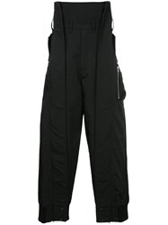 Julius High Waisted Utility Trousers Cotton Black