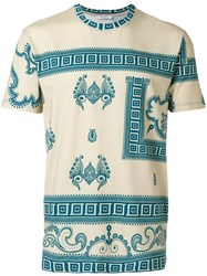 Versace Collection Printed T Shirt Cotton Spandex Elastane S Nude Neutrals