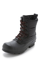 Hunter Original Quilted Lace Up Short Boots Black