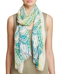 Fraas Brushed Tribal Print Scarf Blue Green