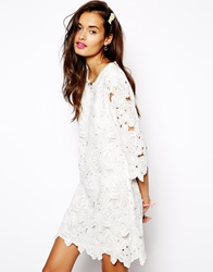 Native Rose Shift Dress In Lace Cutwork White