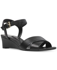 Nine West Laglade Wedge Sandals Women's Shoes Black Leather