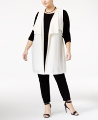 Ny Collection Plus Size Open Front Vest White