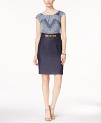 Connected Printed Cap Sleeve Sheath Dress Navy