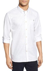 Ted Baker Men's London Laavato Extra Trim Fit Linen And Cotton Roll Sleeve Sport Shirt