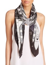 Swash Luna Moon Printed Silk Scarf Black White