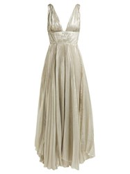 Maria Lucia Hohan Riley Pleated Silk Blend Gown Silver
