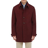 Lodental Men's Wool Mohair Balmacaan Coat Burgundy