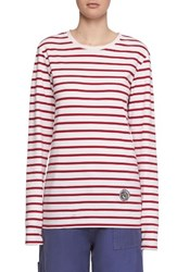 Burberry Women's Breton Stripe Cotton Tee Parade Red