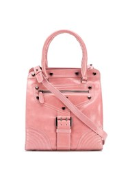 Twin Set Buckled Strap Tote Pink
