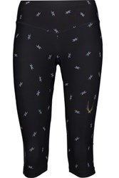 Lucas Hugh Spark Cropped Printed Stretch Jersey Leggings Black