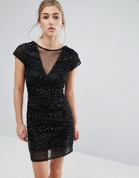 Miss Selfridge Geo Beaded Bodycon Dress Black