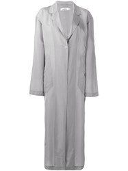 Marios Oversized Duster Coat Women Cupro S Grey