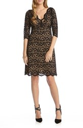 Karen Kane Women's Scalloped Lace V Neck Dress Black Nude