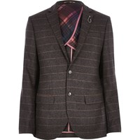 River Island Mens Brown Check Wool Blend Slim Blazer