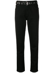 Moschino Belted Slim Fit Jeans Black