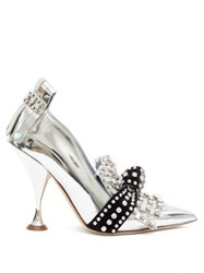 Burberry Goodall Crystal Embellished Patent Leather Pumps Silver Black Silver Black