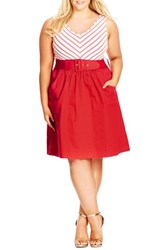 City Chic Plus Size Women's 'Ahoy' Dress Red