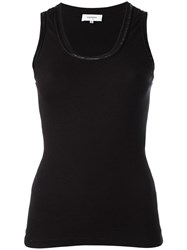 Carven Contrasting Neck Tank Black