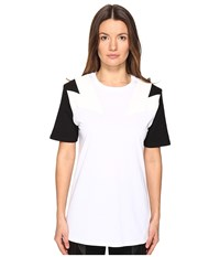 Neil Barrett New Modernist T Shirt Jersey Eco Suede White Black Women's T Shirt