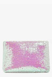 Boohoo Aleena Mermaid Sequin Zip Top Clutch Bag Pink