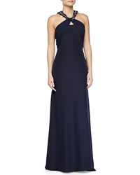 Monique Lhuillier Jeweled Knot Neckline Gown W Train Navy