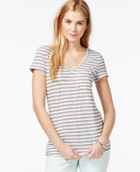 Maison Jules Striped Short Sleeve V Neck T Shirt Only At Macy's Heather Grey Combo