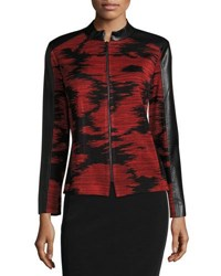 Ming Wang Faux Leather Trim Knit Jacket Red Black